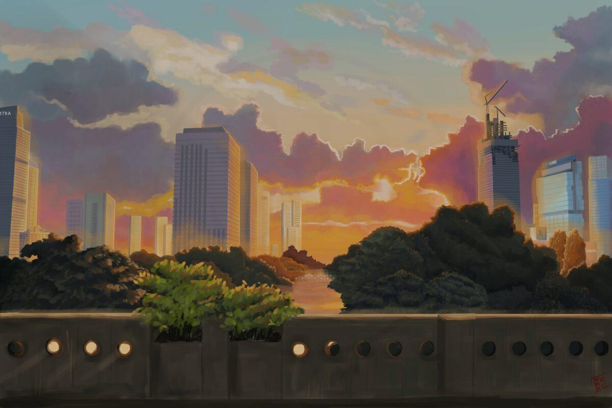An illustration of view from Jembatan Kuningan Jakarta with Ghibli-is style anime background art